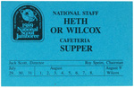 1989 National Jamboree National Staff Heath or Wilcox Cafeteria Supper
