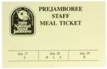 1989 National Jamboree Prejamboree Staff Meal Ticket