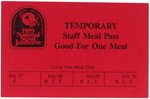 1989 National Jamboree Temporary Staff Meal Pass